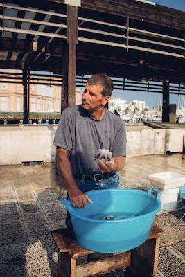 Un pescatore che vende il pesce appena pescato, n'dèrr a la lanze a Bari