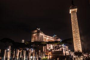 panorama notturno sull'altare della patria e i fori